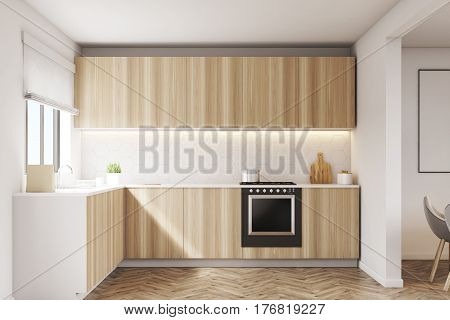 Wooden kitchen countertops with an oven. White walls posters on them. 3d rendering mock up