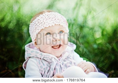 Happy Baby Infant With First Milk Tooth