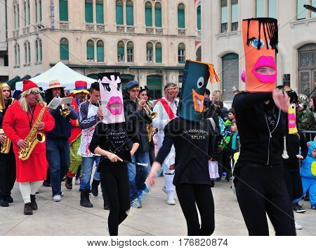 SPLIT CROATIA - FEBRUARY 26: Undefined people participating in the carnival of Split on February 26 2017.