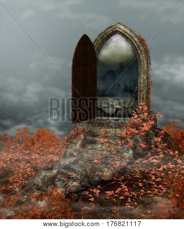 3d rendering of a fantasy doorway portal framed by red vines.