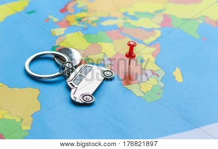 Preparation and booking travel concept with fob on map background