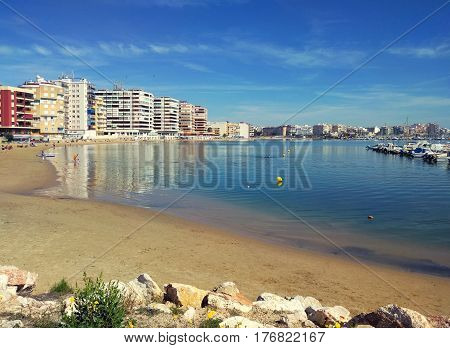 Beach of Torrevieja at sunny weather. Costa Blanca Province of Alicante. Spain