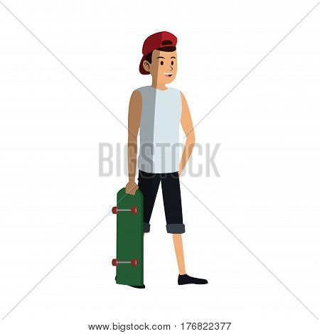 young guy with red cap cartoon icon over white background. colorful design. vector illustration