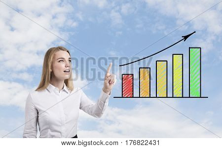 Blond Woman And Colored Graph