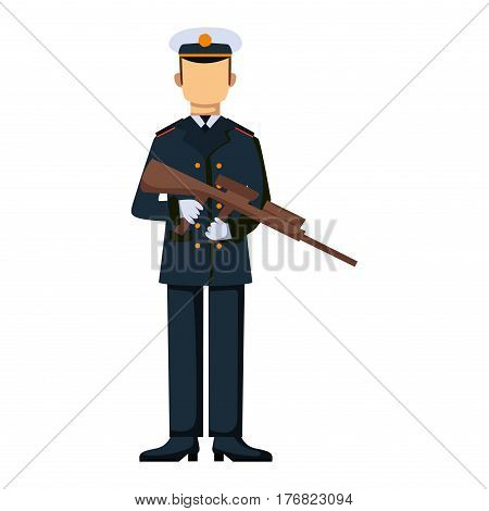 Military character weapon symbols armor man silhouette forces design and american fighter ammunition navy camouflage sign vector illustration. Uniform battle sniper special cloth.