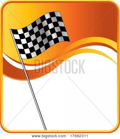 racing checkered flag on gold wave background