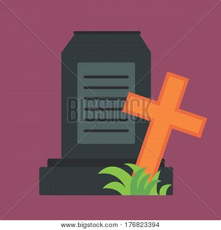 Tombstone crypt construction isolated traditional stone cemetery religion grave for dead people and some graveyard memorial history symbol vector illustration. Construction spooky headstone art.