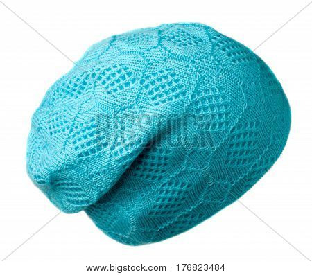 Women's Hat . Knitted Hat Isolated On White Background .turquoise Hat