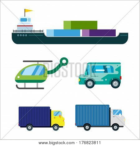 Transport delivery vector trucks ship isolated on white. Transportation cars, bus, truck, van, fire truck, city cars, helicopter, van truck, tanker. Delivery van vector silhouette. Vector car icons