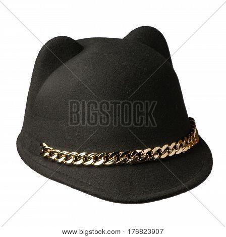 Fedora Hat Isolated On White Background .black Hat