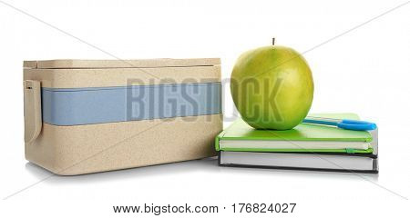 Modern lunch box and appetizing apple on white background