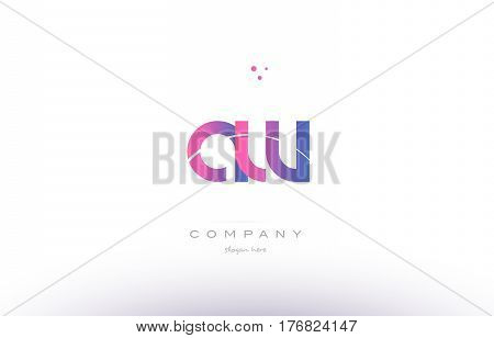 Aw A W  Pink Modern Creative Alphabet Letter Logo Icon Template