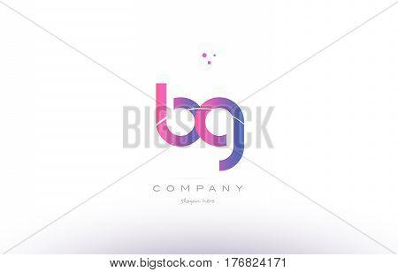 Bg B G  Pink Modern Creative Alphabet Letter Logo Icon Template