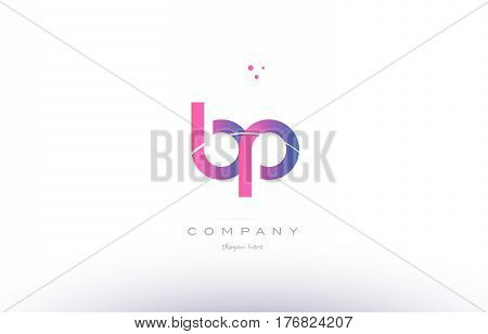 Bp B P  Pink Modern Creative Alphabet Letter Logo Icon Template