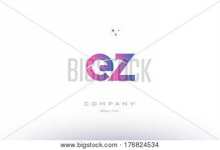 Ez E Z  Pink Modern Creative Alphabet Letter Logo Icon Template