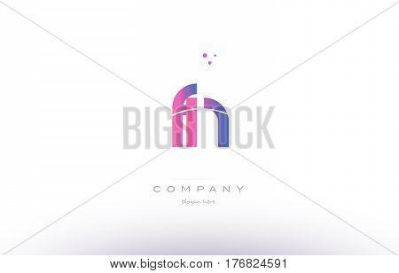 Fn F N  Pink Modern Creative Alphabet Letter Logo Icon Template