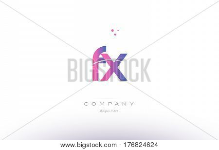 Fx F X  Pink Modern Creative Alphabet Letter Logo Icon Template