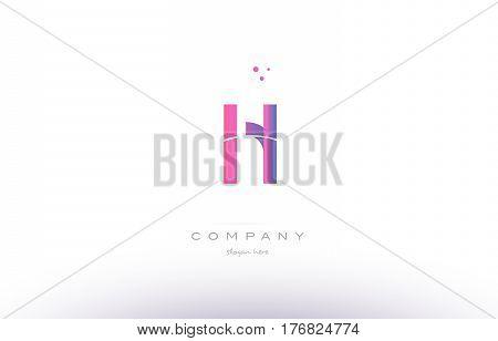 Hl H L  Pink Modern Creative Alphabet Letter Logo Icon Template