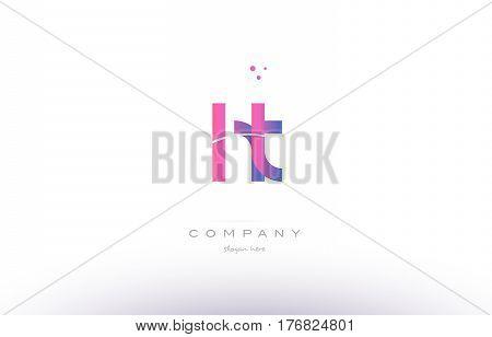 Ht H T  Pink Modern Creative Alphabet Letter Logo Icon Template