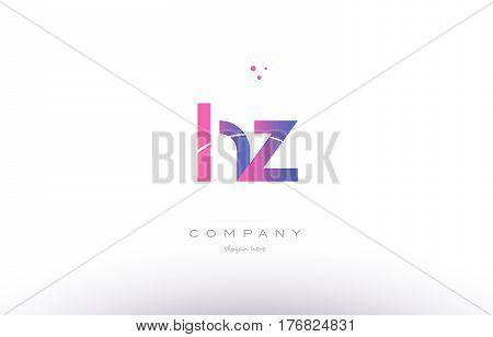 Hz H Z  Pink Modern Creative Alphabet Letter Logo Icon Template