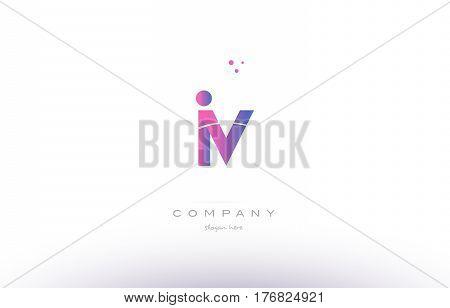 Iv I V  Pink Modern Creative Alphabet Letter Logo Icon Template