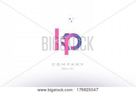 Kp K P  Pink Modern Creative Alphabet Letter Logo Icon Template