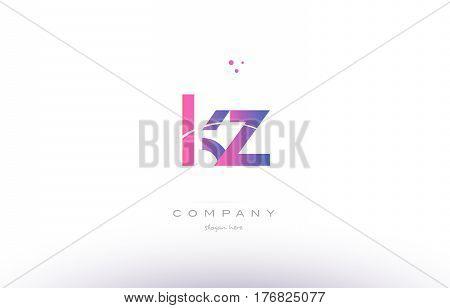 Kz K Z  Pink Modern Creative Alphabet Letter Logo Icon Template