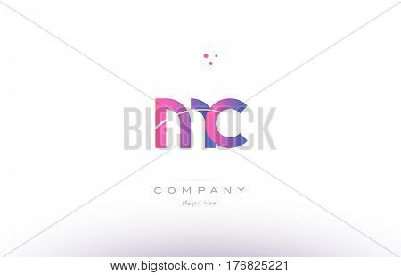 Mc M C  Pink Modern Creative Alphabet Letter Logo Icon Template
