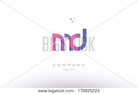 Md M D  Pink Modern Creative Alphabet Letter Logo Icon Template