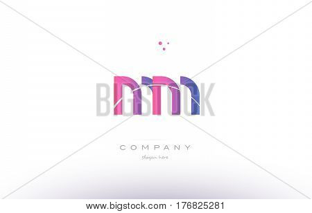 Mm M M  Pink Modern Creative Alphabet Letter Logo Icon Template