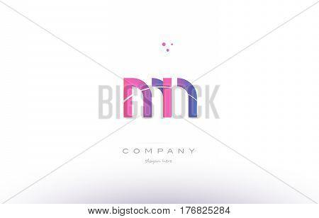 Mn M N  Pink Modern Creative Alphabet Letter Logo Icon Template