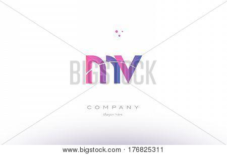 Mv M V  Pink Modern Creative Alphabet Letter Logo Icon Template
