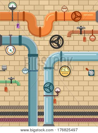 pipeline on plumbing concept background. brick wall with pipes