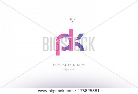 Pk P K  Pink Modern Creative Alphabet Letter Logo Icon Template