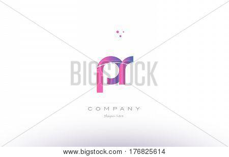 Pr P R  Pink Modern Creative Alphabet Letter Logo Icon Template