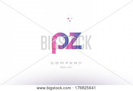 Pz P Z  Pink Modern Creative Alphabet Letter Logo Icon Template