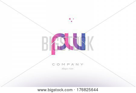 Pw P W  Pink Modern Creative Alphabet Letter Logo Icon Template