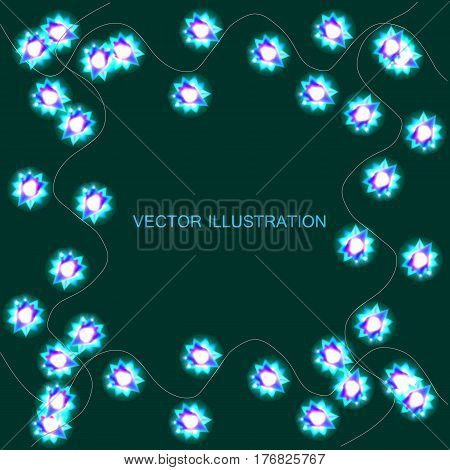 Light garlands, background with green glowing lights on green background. Vector illustration with background with border.