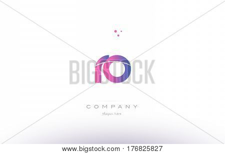 Ro R O  Pink Modern Creative Alphabet Letter Logo Icon Template