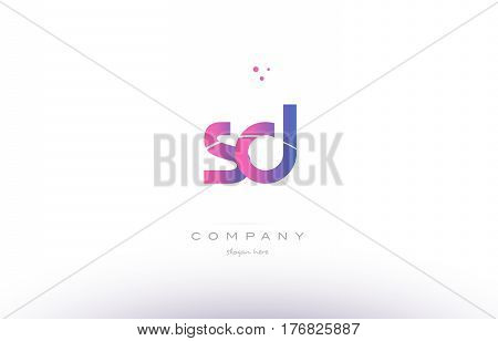 Sd S D  Pink Modern Creative Alphabet Letter Logo Icon Template