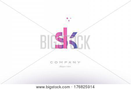 Sk S K  Pink Modern Creative Alphabet Letter Logo Icon Template