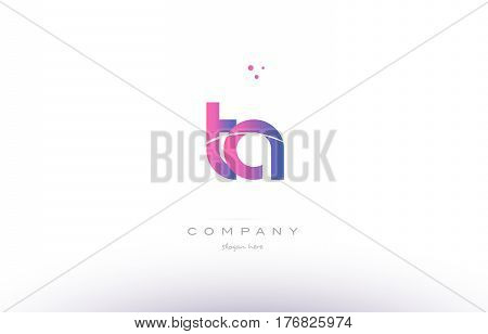 Ta T A  Pink Modern Creative Alphabet Letter Logo Icon Template