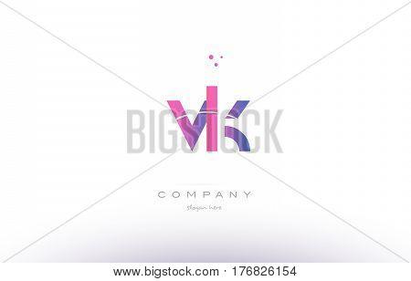 Vk V K  Pink Modern Creative Alphabet Letter Logo Icon Template
