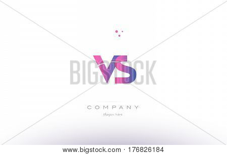Vs V S  Pink Modern Creative Alphabet Letter Logo Icon Template