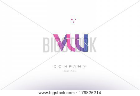 Vw V W  Pink Modern Creative Alphabet Letter Logo Icon Template