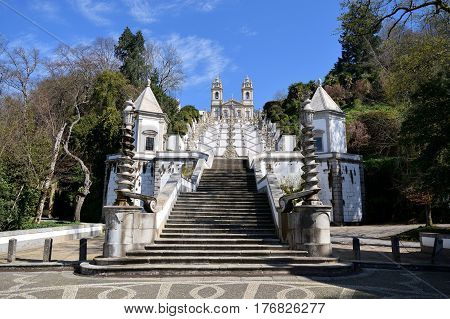 Frontal Staircase Of The Sanctuary Of Bom Jesus