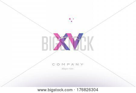 Xv X V  Pink Modern Creative Alphabet Letter Logo Icon Template