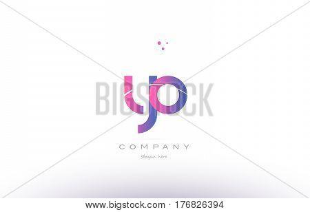 Yo Y O  Pink Modern Creative Alphabet Letter Logo Icon Template