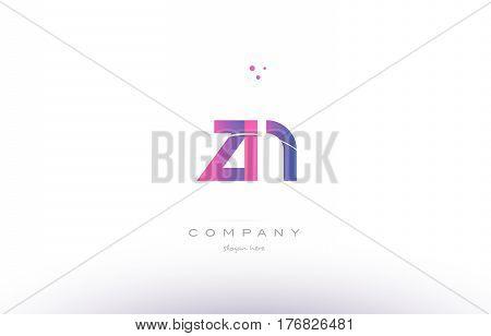 Zn Z N  Pink Modern Creative Alphabet Letter Logo Icon Template