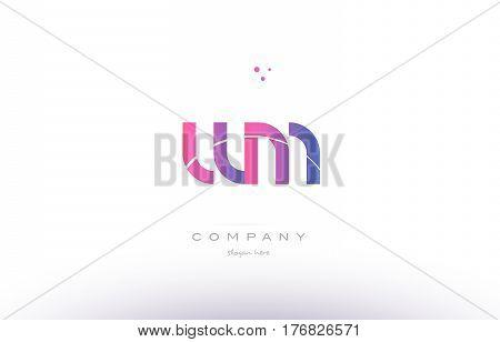 Wm W M  Pink Modern Creative Alphabet Letter Logo Icon Template